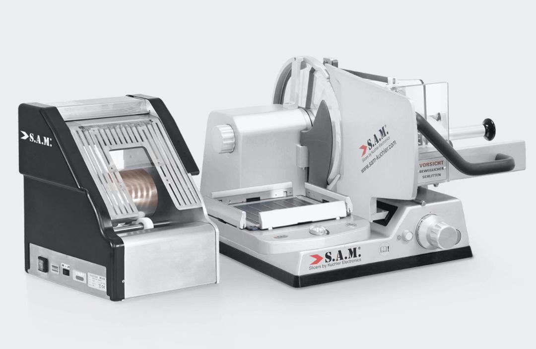 sam kuchler Aufschnittmaschine manuell mit Folienautomat