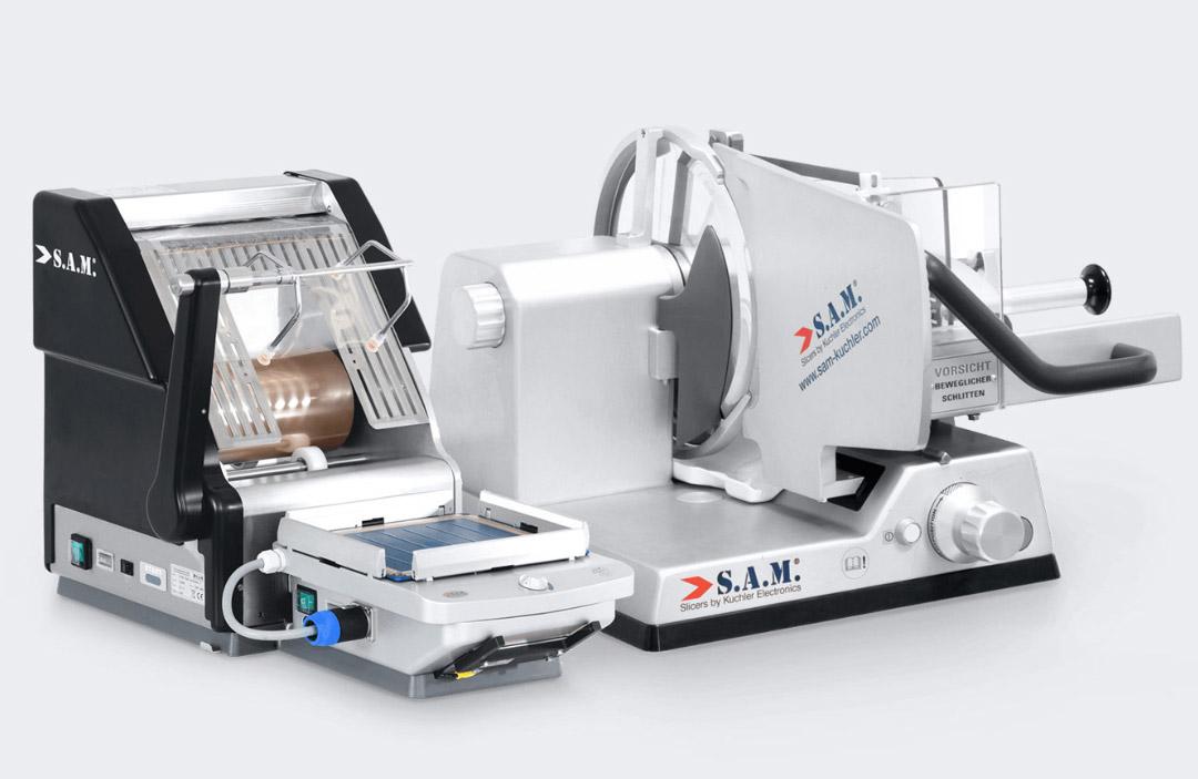 sam kuchler aufschnittmaschine halbautomatisch mit folienroboter