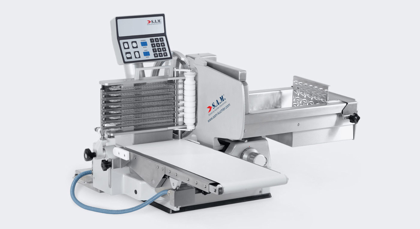 sam kuchler aufschnittmaschine vollautomatisch förderband