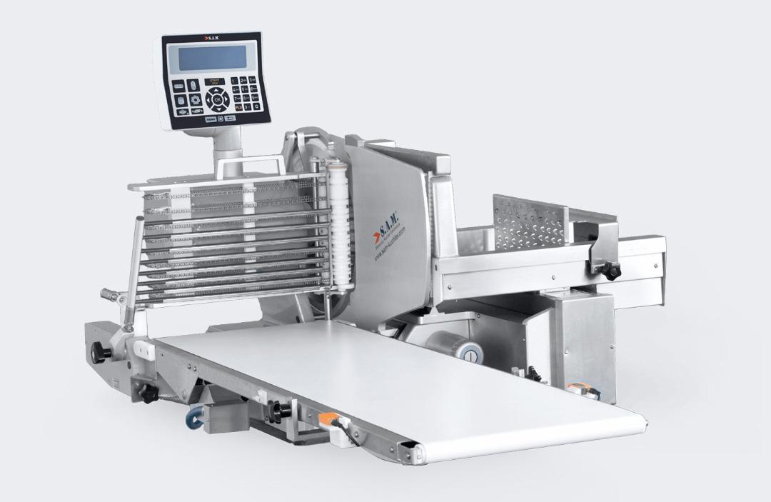 sam kuchler aufschnittmaschine vollautomatisch förderband programmierbare ablage