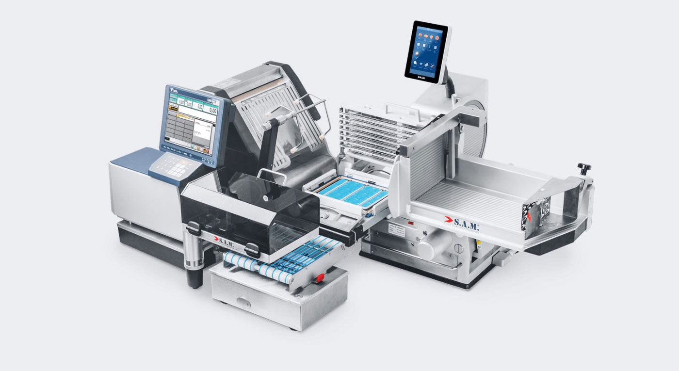 Aufschnitt und verpackungsmaschine mit Preisauszeichner